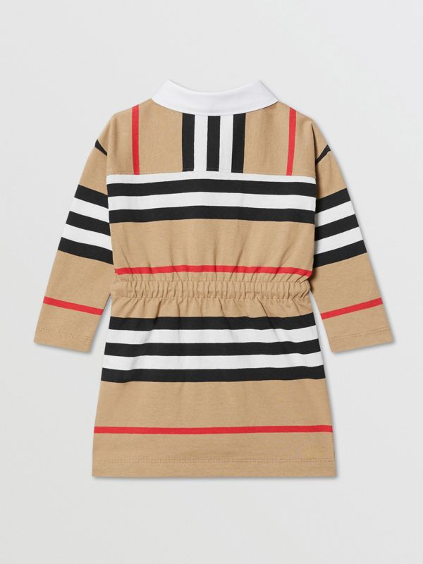 Long-sleeve Icon Stripe Cotton Dress in Archive Beige - Children   Burberry United Kingdom - cell image 2