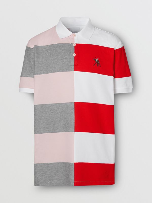 Deer Motif Colour Block Oversized Polo Shirt – Online Exclusive in Alabaster Pink - Men | Burberry - cell image 3