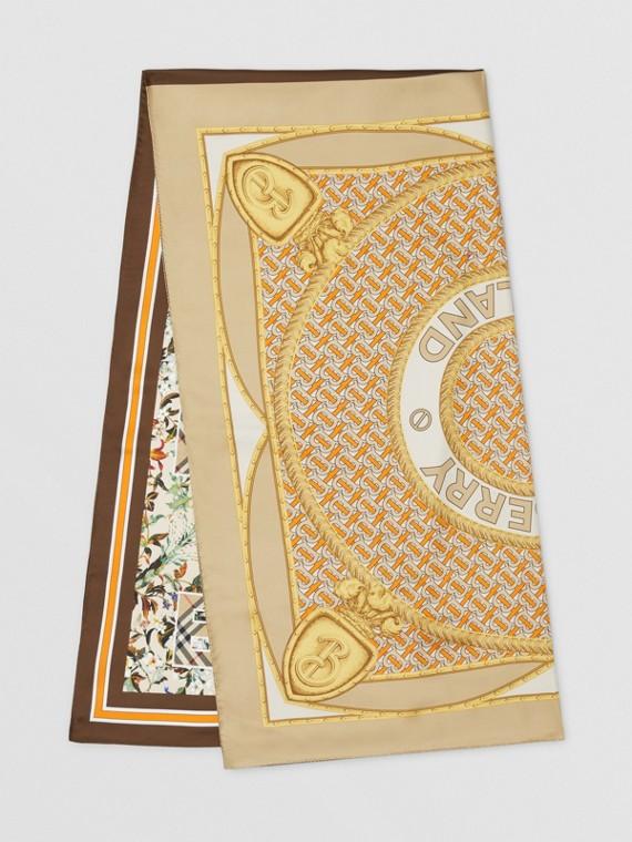Montage Print Silk Scarf in Beige