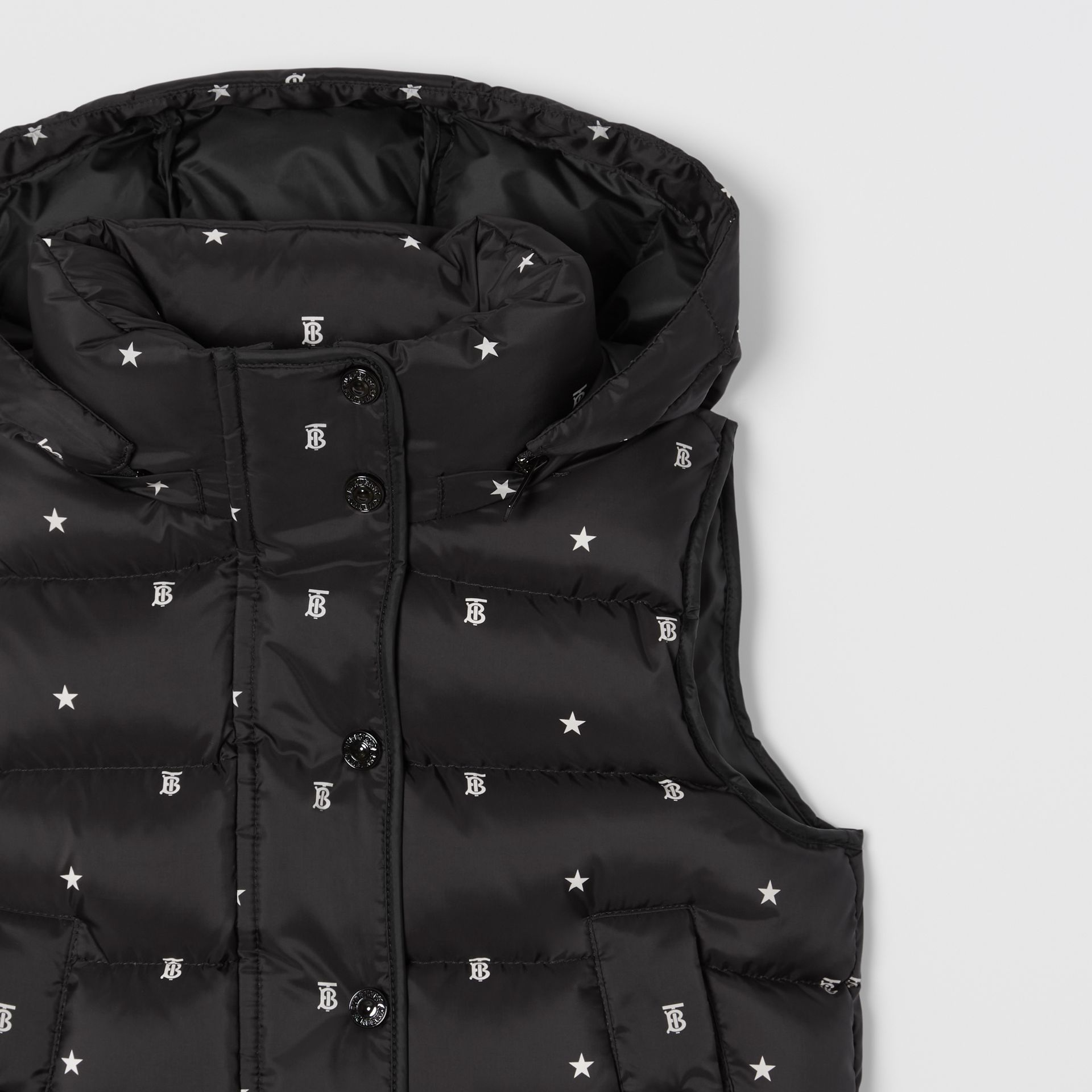 Star and Monogram Motif Puffer Gilet in Black | Burberry - gallery image 5