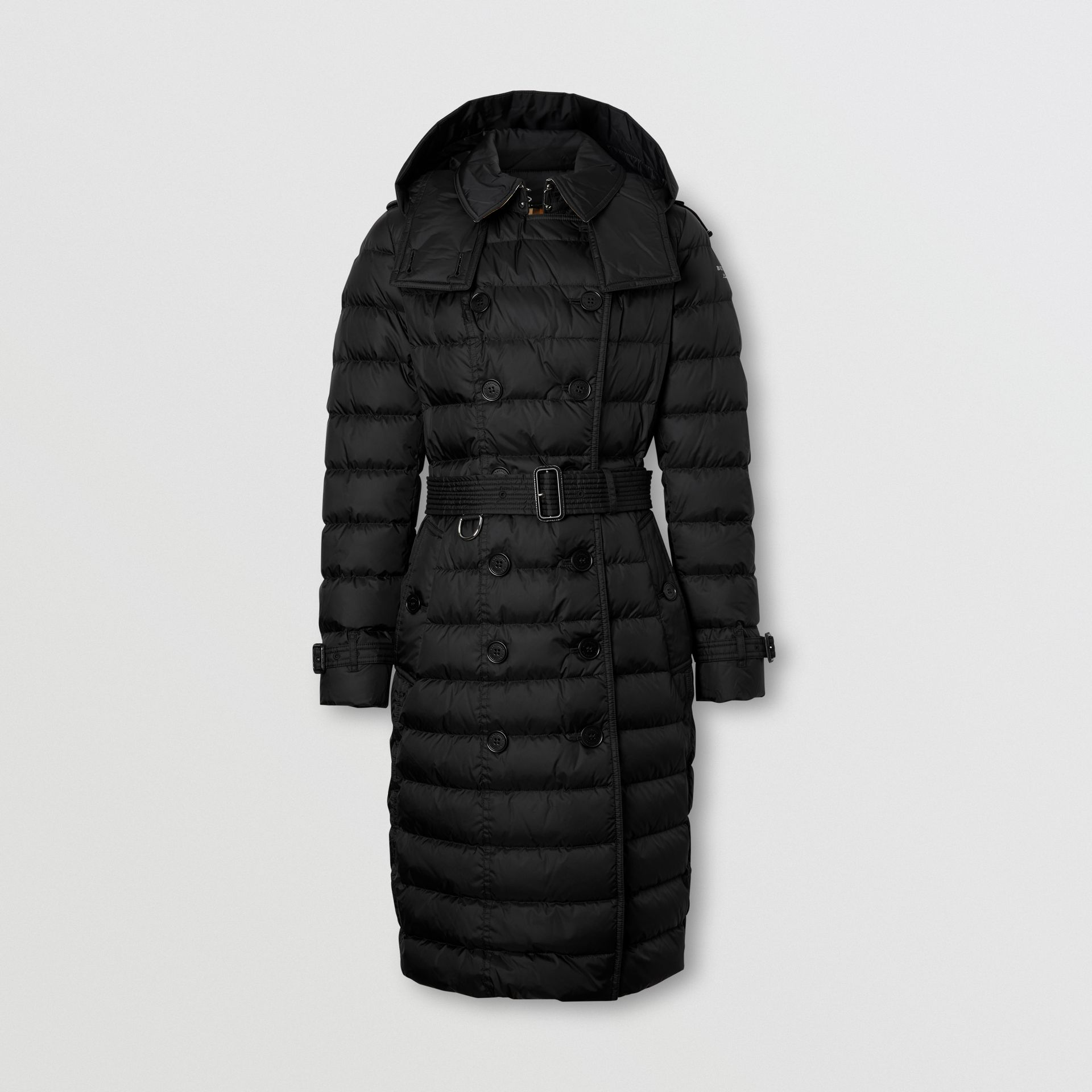 Detachable Hood Belted Puffer Coat in Black - Women | Burberry - gallery image 0