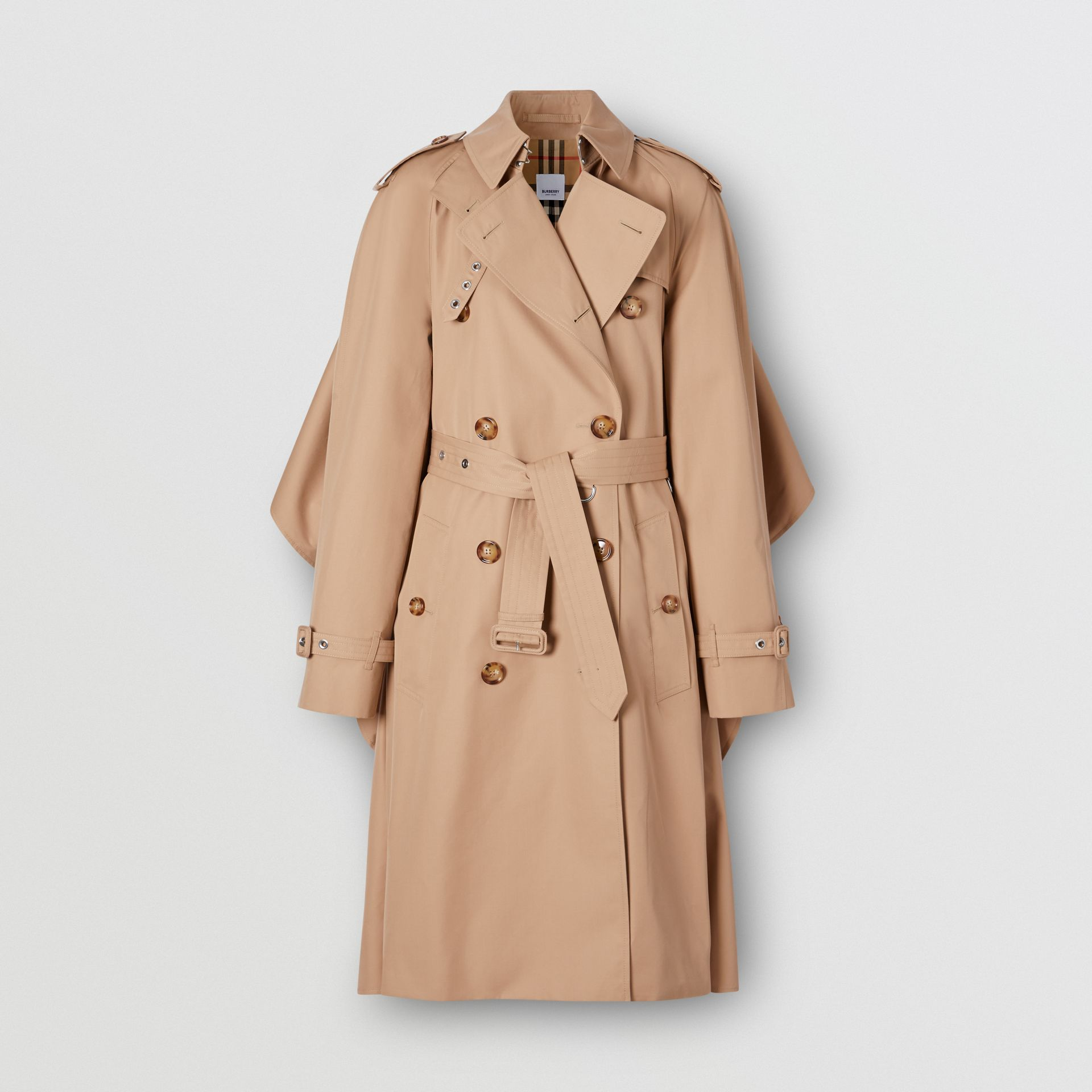 Contrast Cape Detail Cotton Twill Trench Coat in Soft Fawn - Women | Burberry - gallery image 0