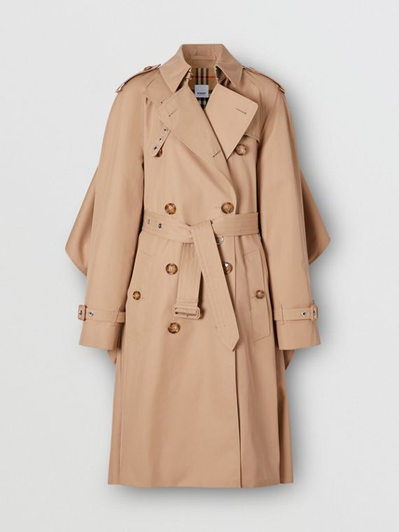 Contrast Cape Detail Cotton Twill Trench Coat in Soft Fawn
