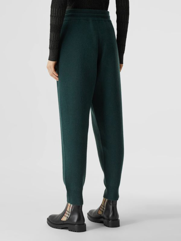 Monogram Motif Cashmere Blend Jogging Pants in Bottle Green - Women | Burberry - cell image 2