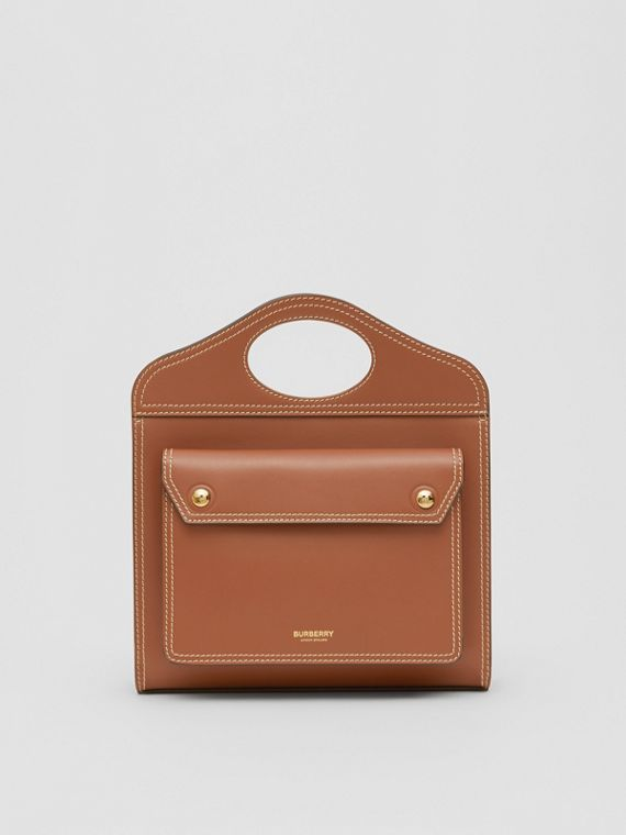 Borsa Pocket mini in pelle con impunture (Marrone Malto)