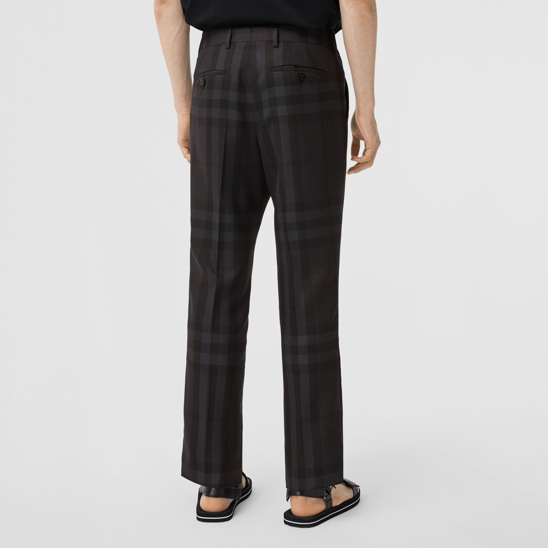 Classic Fit Check Wool Tailored Trousers in Charcoal - Men | Burberry - gallery image 2
