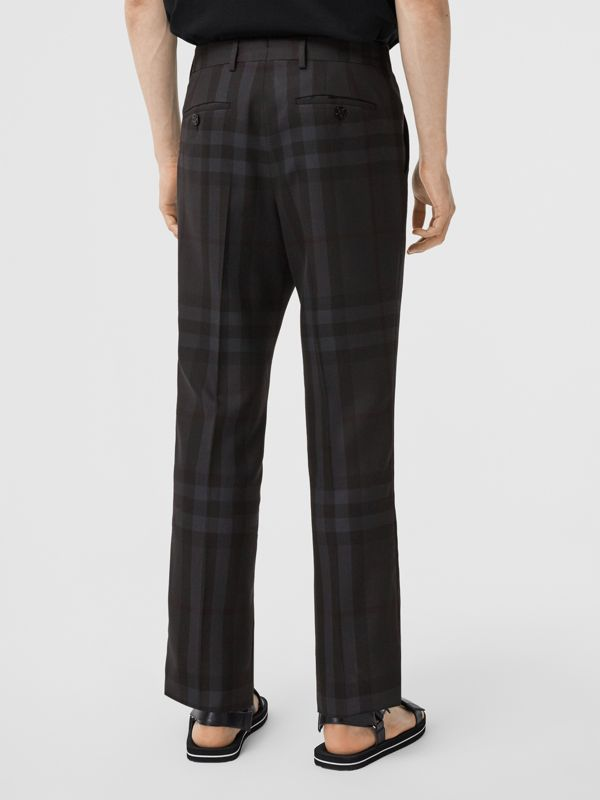 Classic Fit Check Wool Tailored Trousers in Charcoal - Men | Burberry - cell image 2