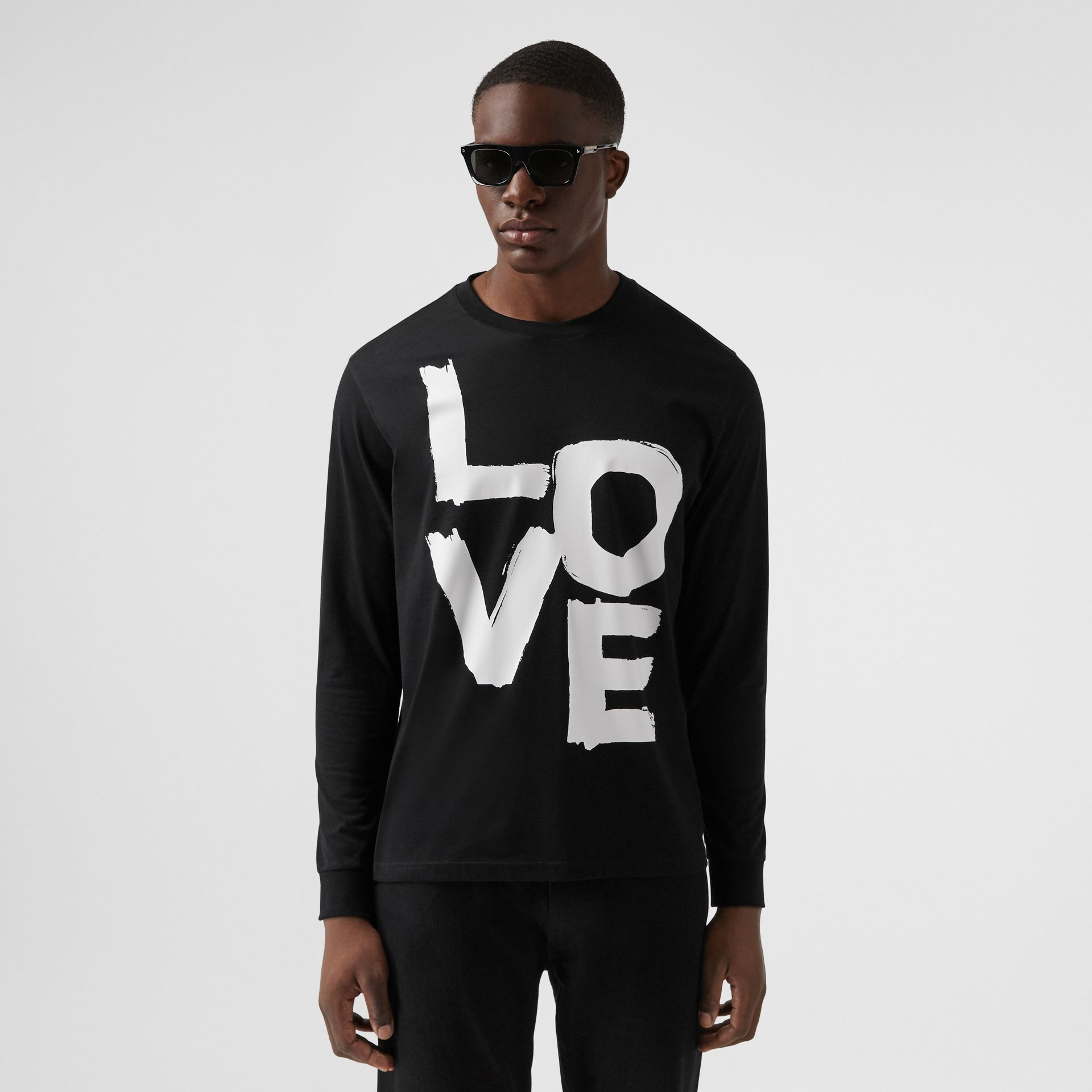 Long-sleeve Love Print Cotton Top in Black - Men | Burberry - gallery image 0