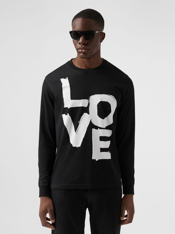 Long-sleeve Love Print Cotton Top in Black