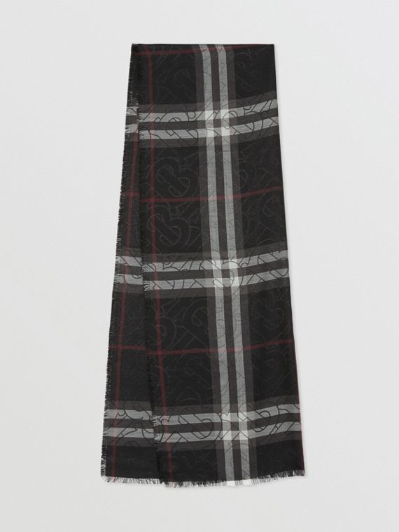 Leichter Schal aus Woll-Seiden-Gewebe mit Karo- und Monogrammmuster (Schwarz)