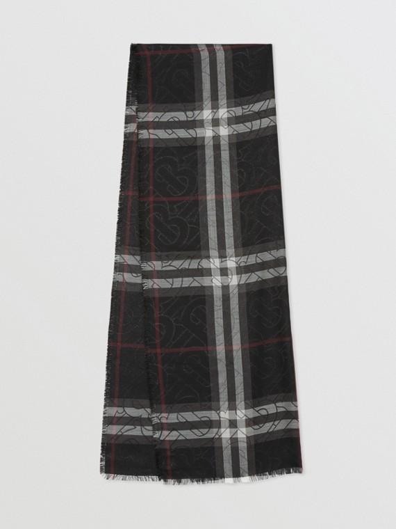 Pañuelo en mezcla de seda a cuadros con monogramas metalizados (Negro)