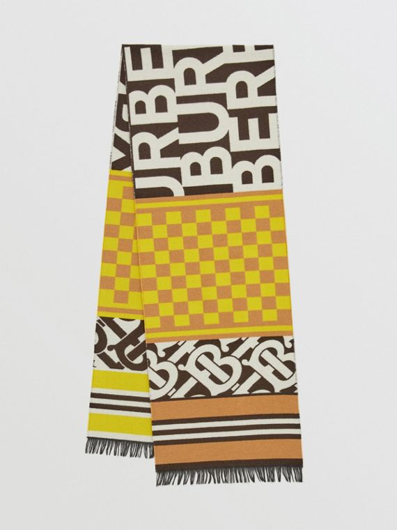 Montage Regenerated Cashmere Wool Jacquard Scarf in Archive Beige