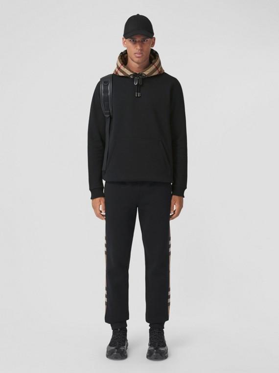 Check Hood Cotton Blend Hoodie in Black