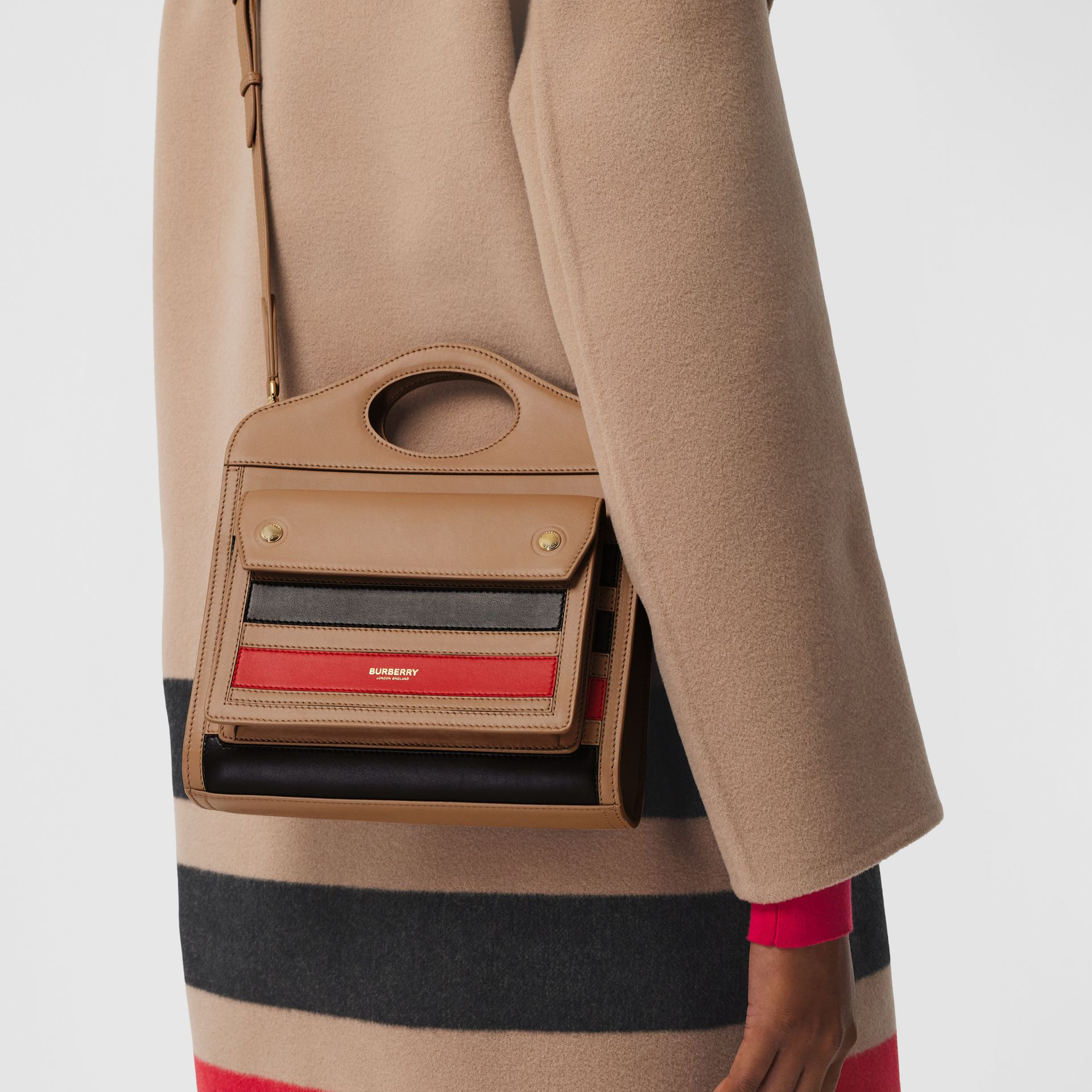 Mini Striped Intarsia Leather Pocket Bag in Camel - Women | Burberry - gallery image 8