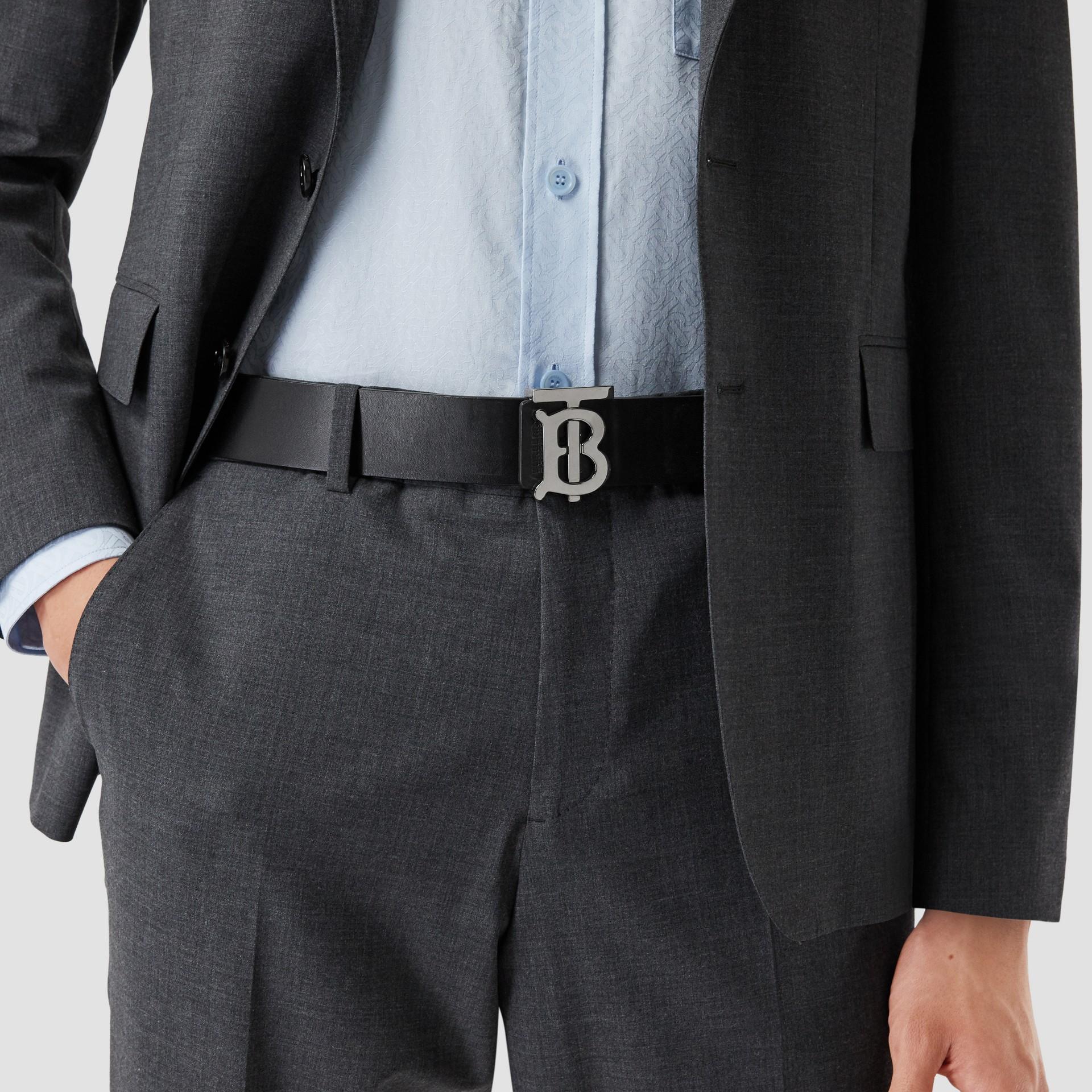 Reversible Monogram Motif Leather Belt in Navy/black - Men | Burberry United Kingdom - gallery image 1