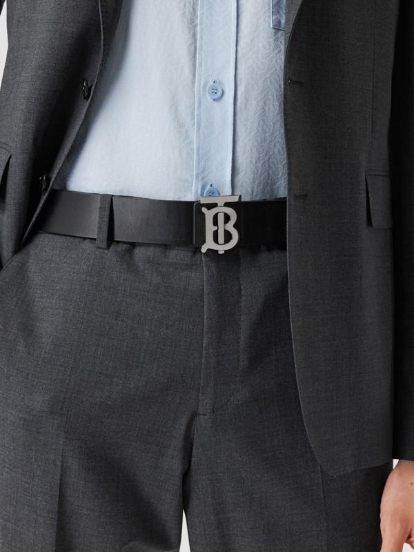 Reversible Monogram Motif Leather Belt in Navy/black - Men | Burberry United Kingdom - cell image 2
