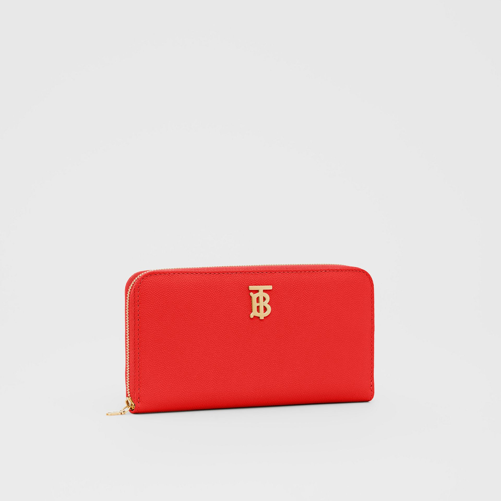 Monogram Motif Grainy Leather Ziparound Wallet in Bright Red - Women | Burberry - gallery image 4