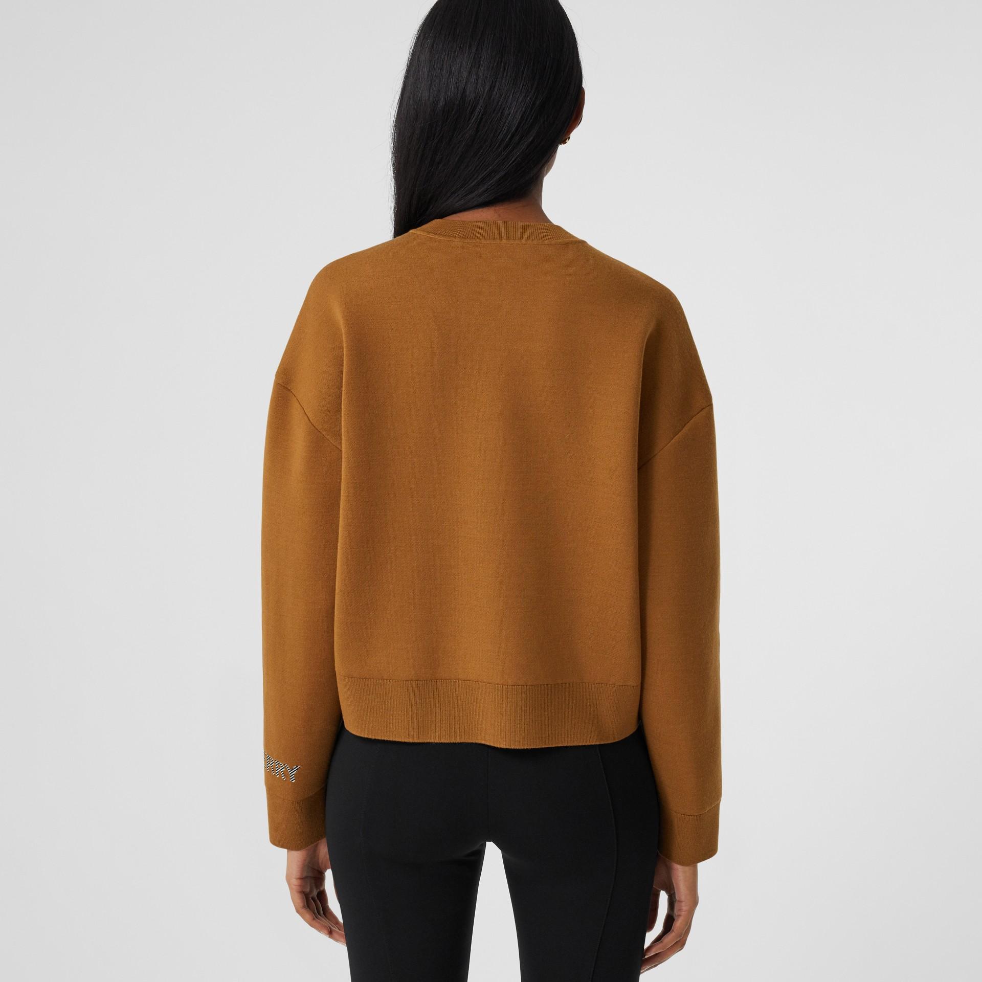 Logo Technical Merino Wool Jacquard Sweater in Chestnut - Women   Burberry - gallery image 2