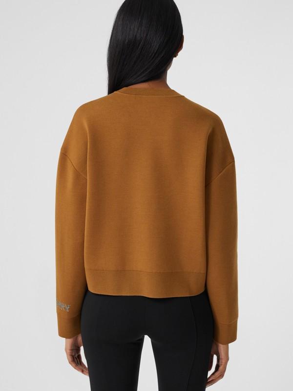 Logo Technical Merino Wool Jacquard Sweater in Chestnut - Women   Burberry - cell image 2
