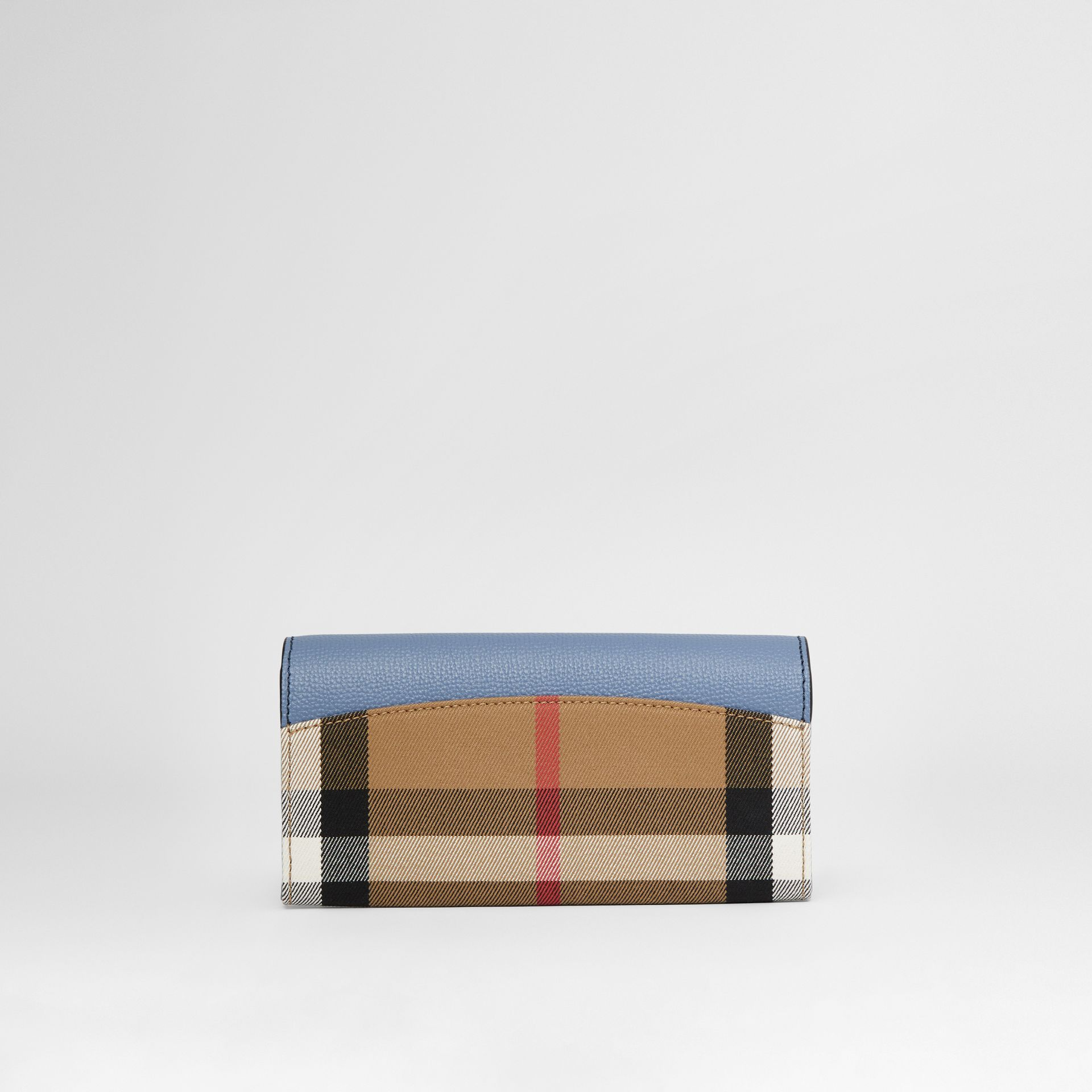 House Check and Leather Continental Wallet in Slate Blue - Women | Burberry - gallery image 4
