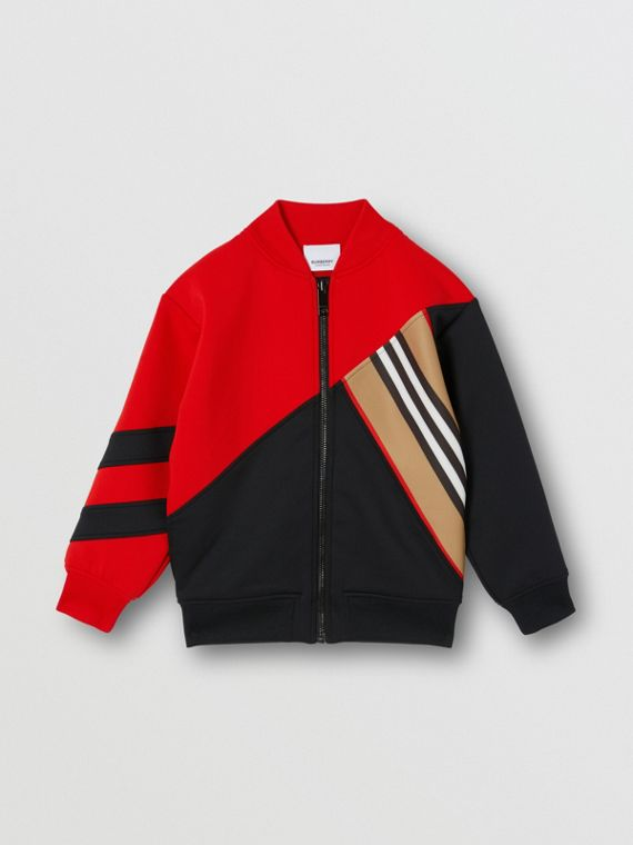 Icon Stripe Detail Stretch Jersey Track Top in Bright Red