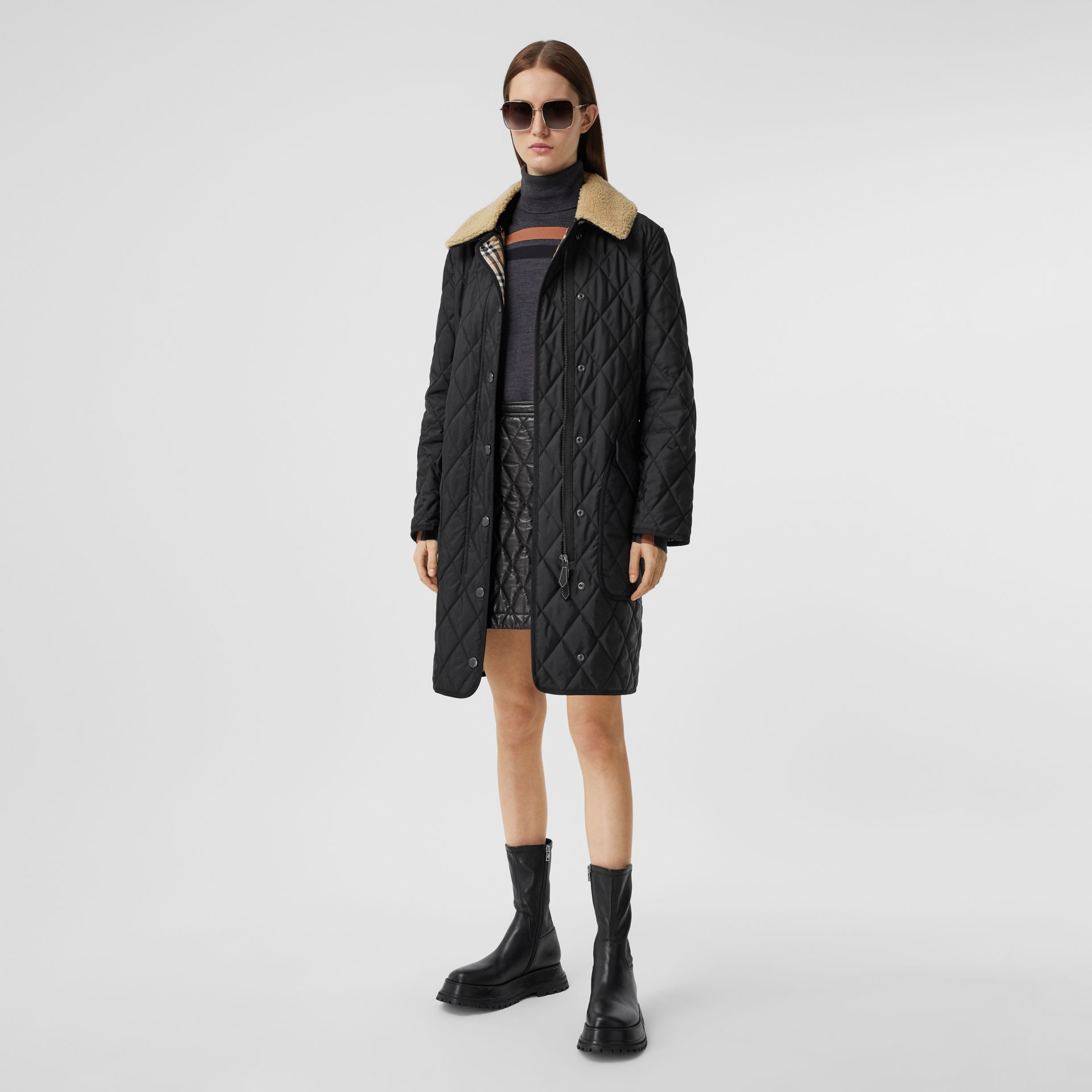 Detachable Fleece Collar Diamond Quilted Coat in Black - Women | Burberry - gallery image 0