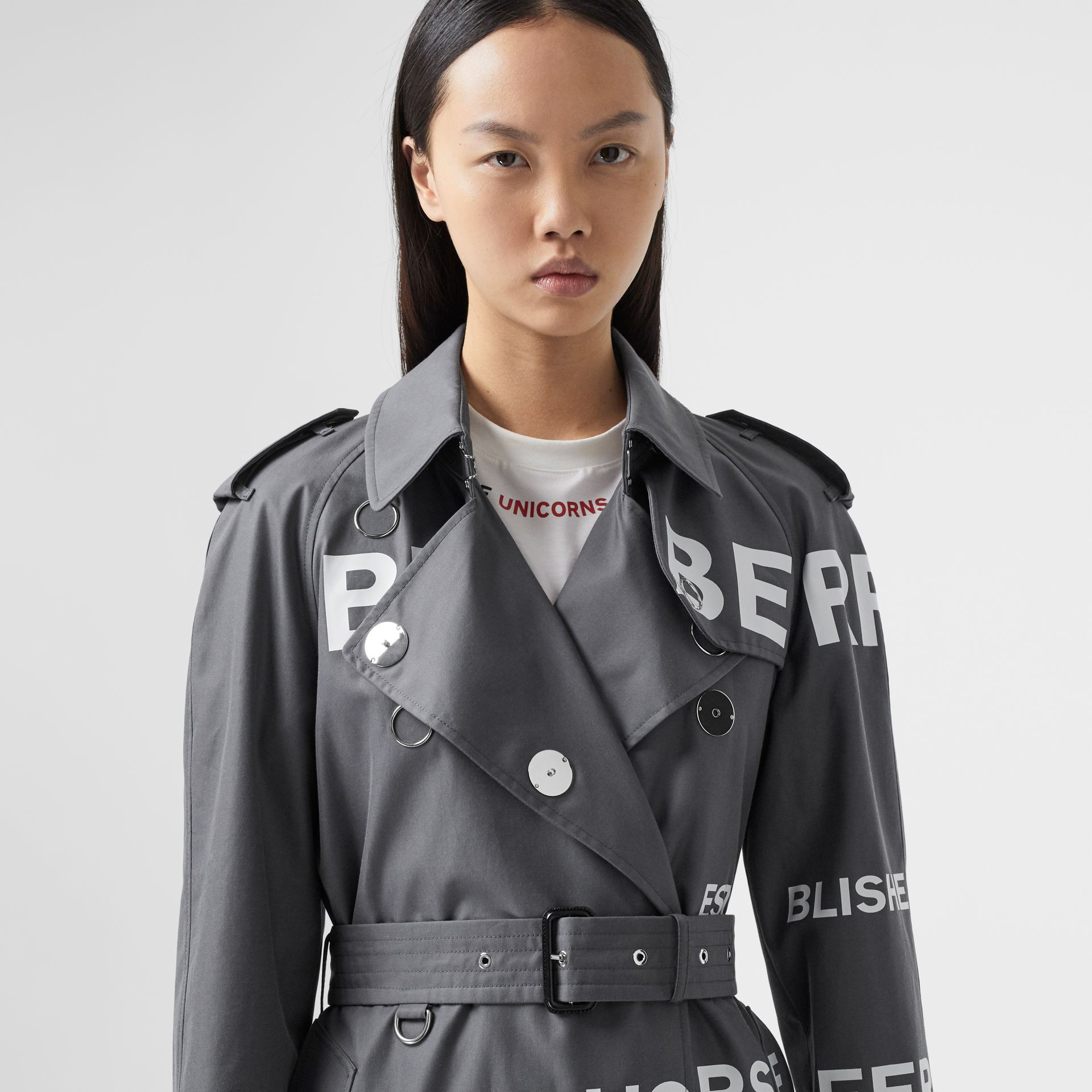 Horseferry Print Cotton Gabardine Trench Coat in Mid Grey - Women | Burberry - gallery image 1