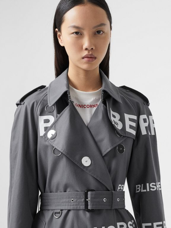 Horseferry Print Cotton Gabardine Trench Coat in Mid Grey - Women | Burberry - cell image 1