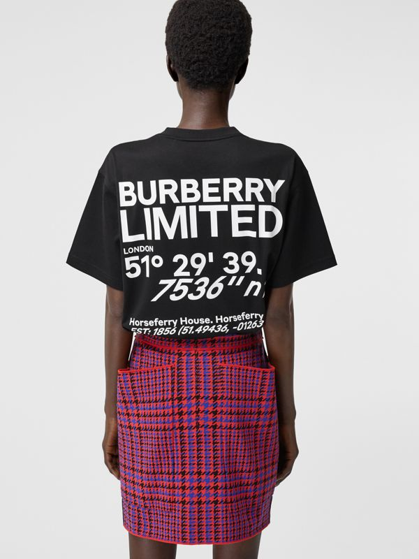Coordinates Print Cotton Oversized T-shirt in Black - Women | Burberry Canada - cell image 2