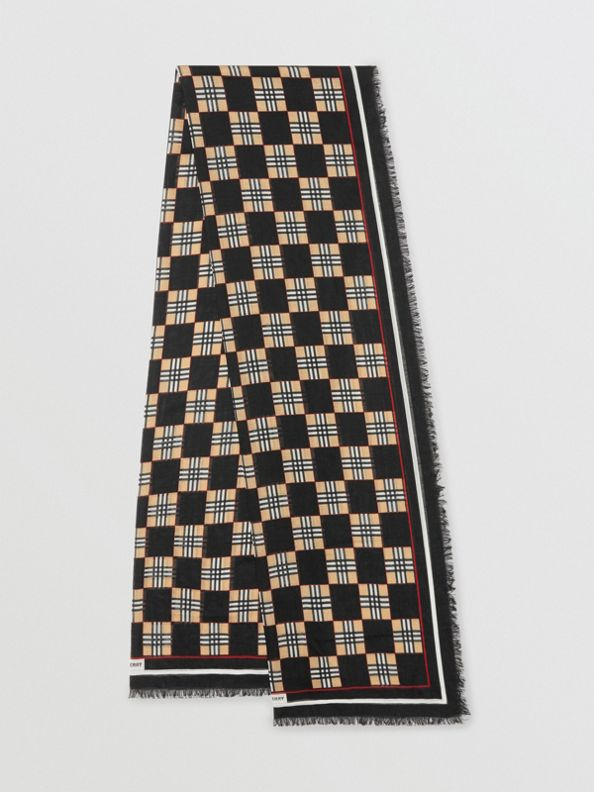 Chequer Print Wool Silk Scarf in Black
