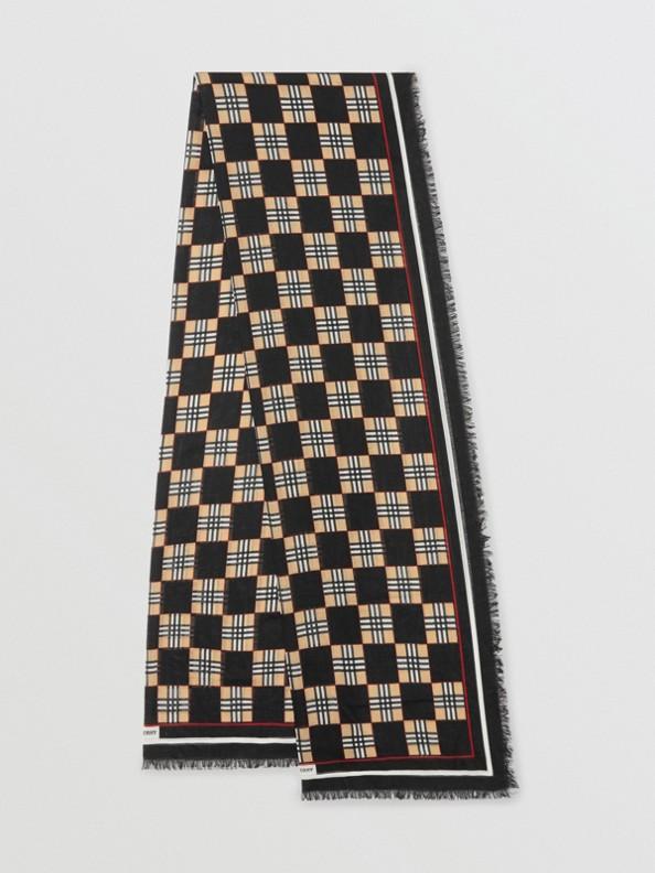 棋盤印花羊毛絲質圍巾 (黑色)