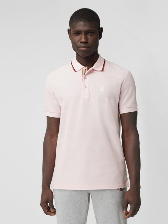 Poloshirt aus Baumwollpiqué mit Monogrammmotiv (Matt Rosafarben)