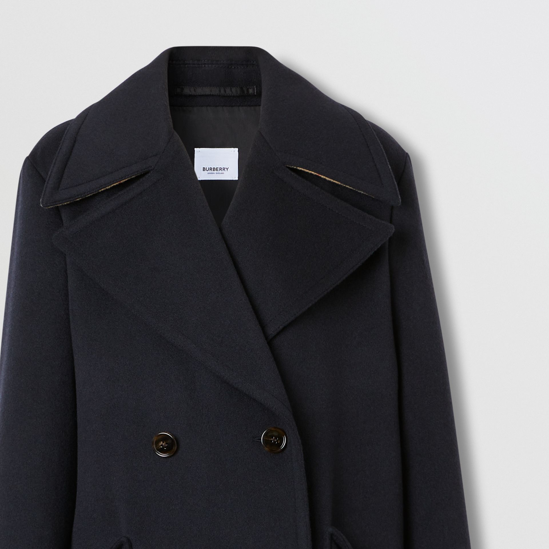 Pocket Detail Cashmere Pea Coat in Navy - Women | Burberry - gallery image 7
