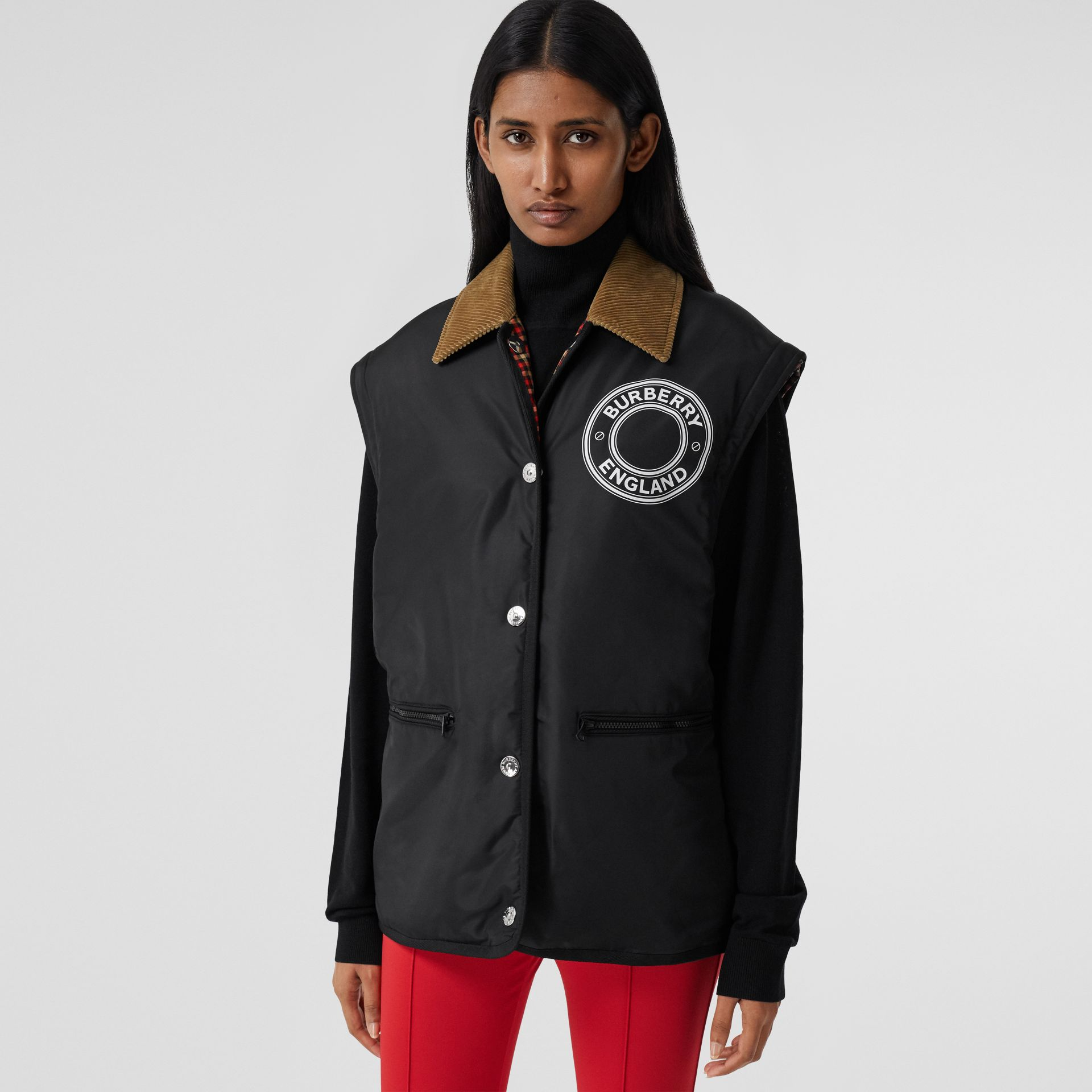 Detachable Sleeve Reversible Logo Graphic Jacket in Black - Women | Burberry Canada - gallery image 7