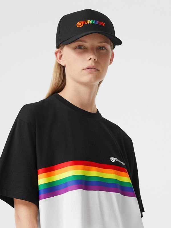 Rainbow Logo Baseball Cap in Black | Burberry United Kingdom - cell image 2