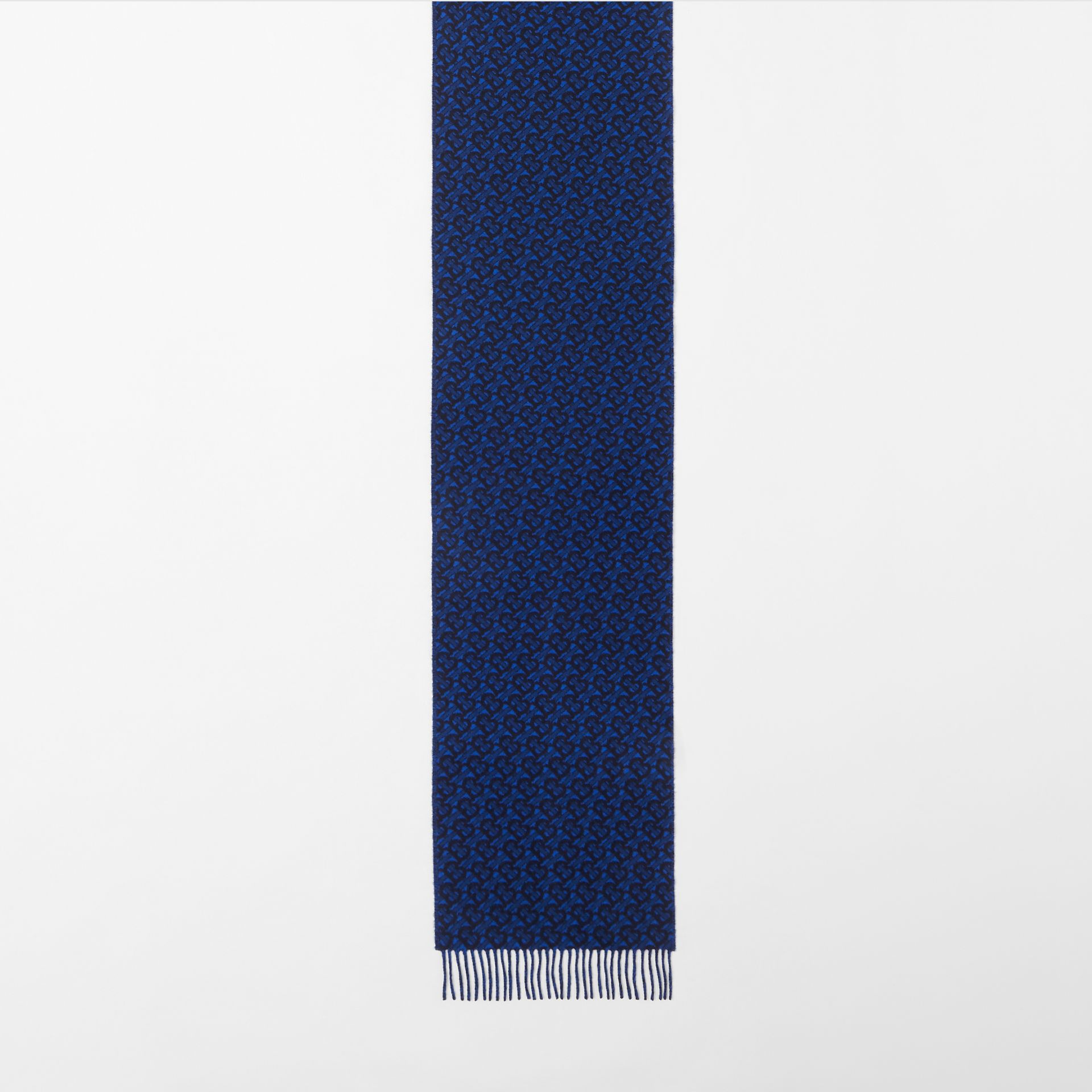 Monogram Cashmere Jacquard Scarf in Azure Blue | Burberry - gallery image 3