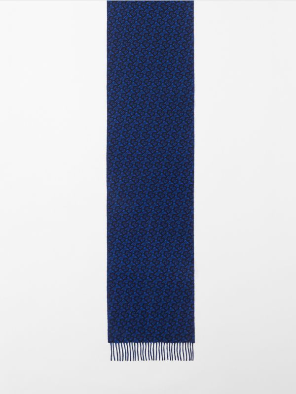 Monogram Cashmere Jacquard Scarf in Azure Blue | Burberry - cell image 3