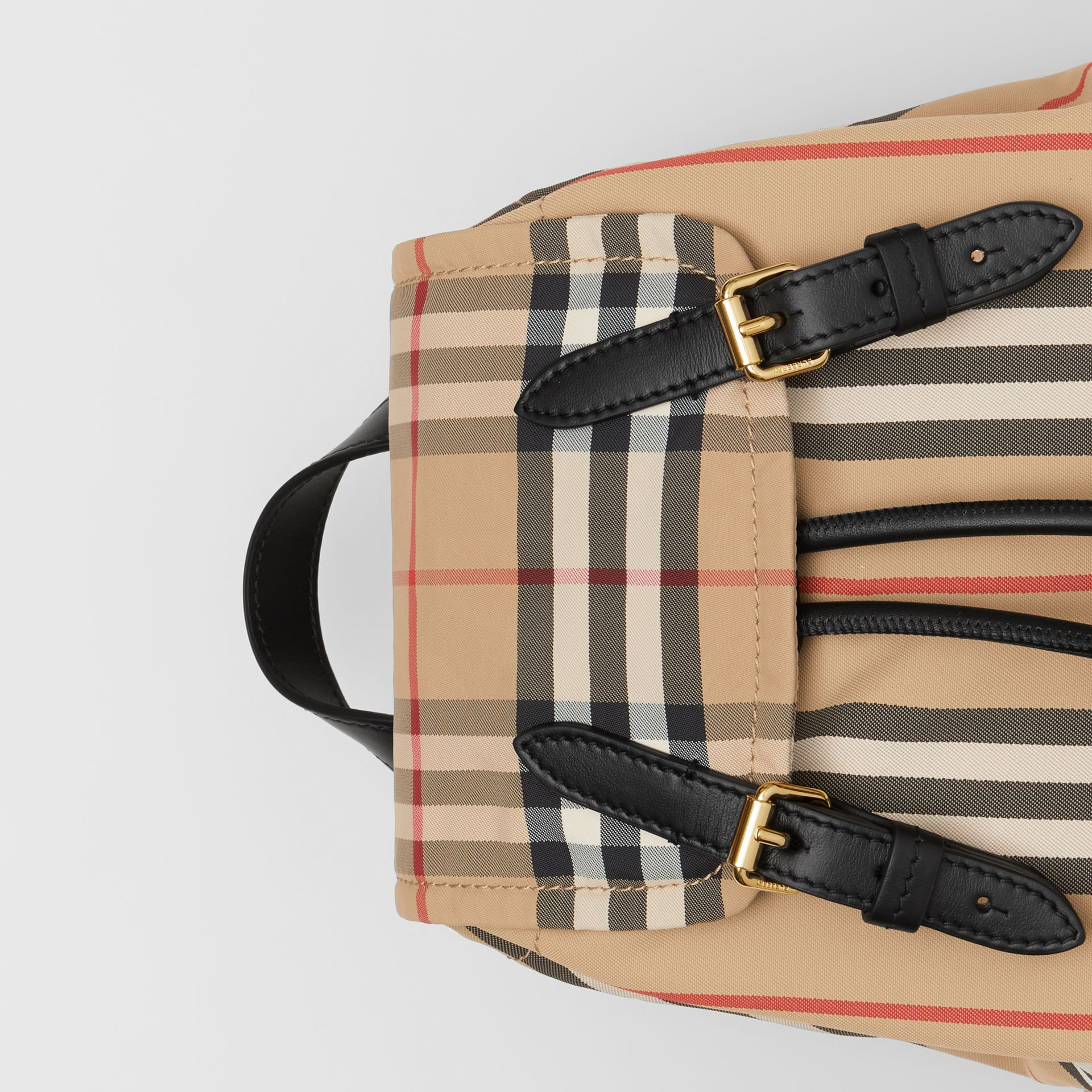The Small Rucksack in Icon Stripe ECONYL® in Archive Beige - Women | Burberry Australia - gallery image 1