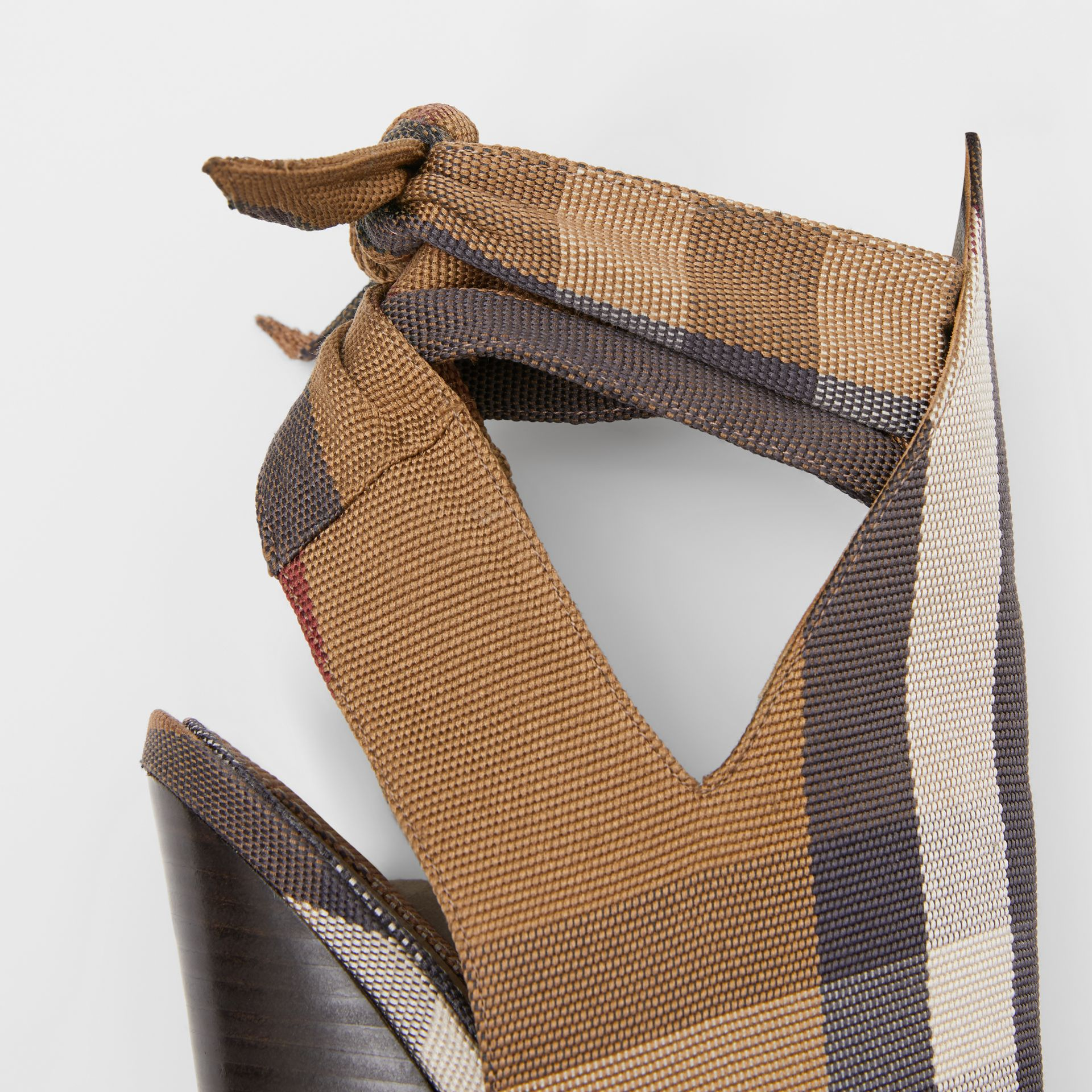 Tie Detail Check Technical Cotton Point-toe Mules in Birch Brown - Women | Burberry - gallery image 1