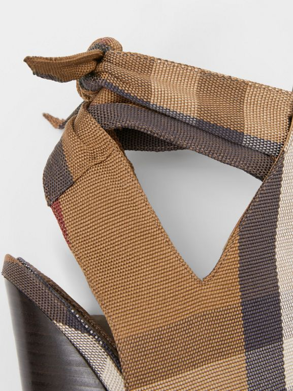 Tie Detail Check Technical Cotton Point-toe Mules in Birch Brown - Women | Burberry - cell image 1
