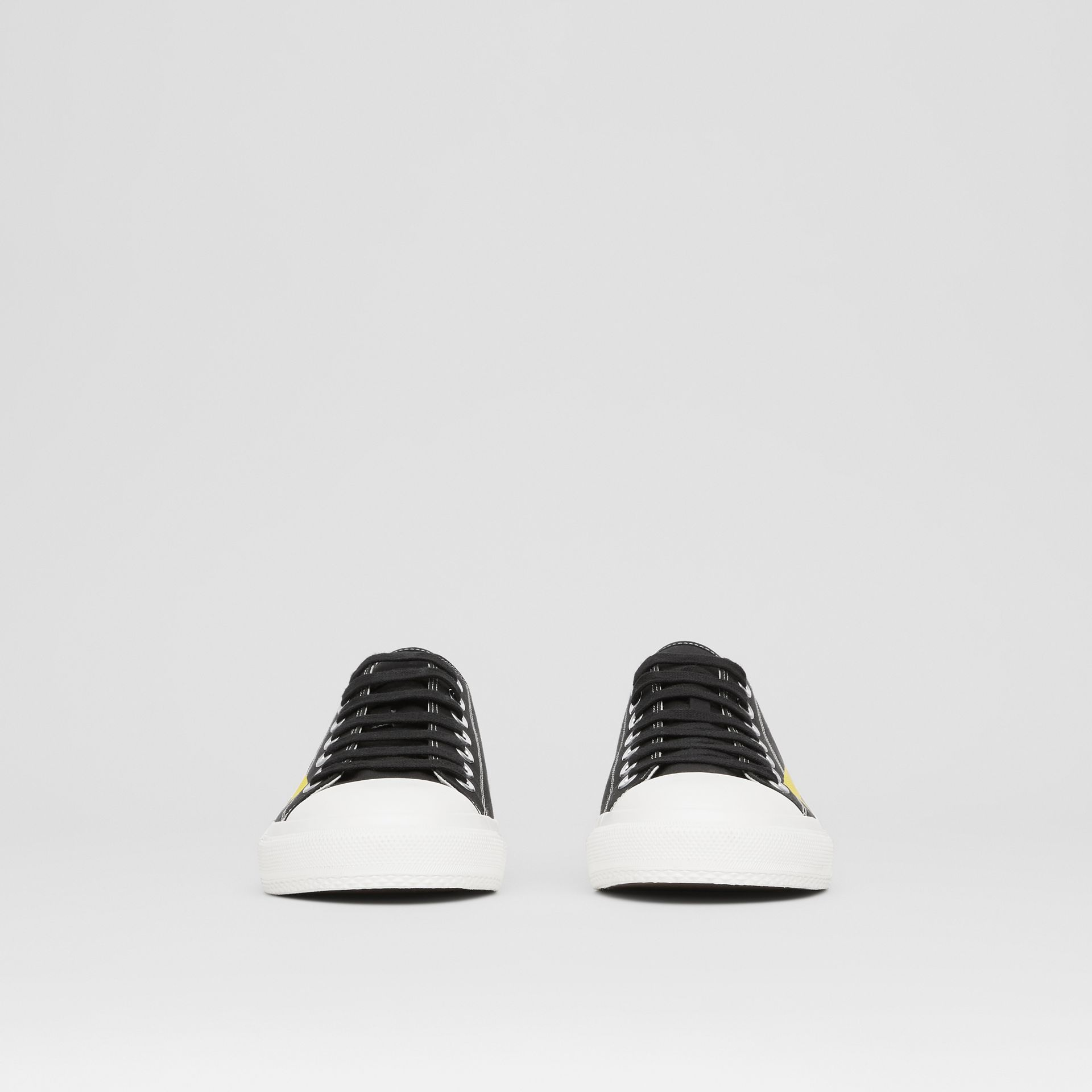 Logo Print Two-tone Cotton Gabardine Sneakers in Black - Men | Burberry - gallery image 2