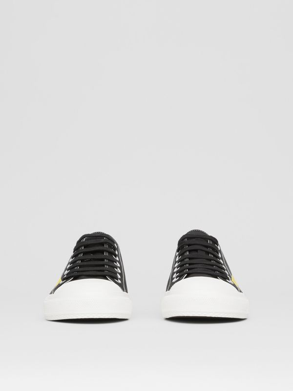 Logo Print Two-tone Cotton Gabardine Sneakers in Black - Men | Burberry - cell image 2