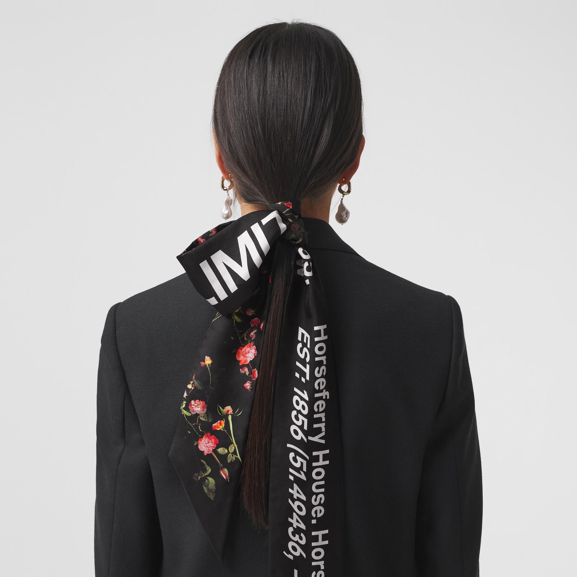 Montage Print Silk Skinny Scarf in Black | Burberry - gallery image 9