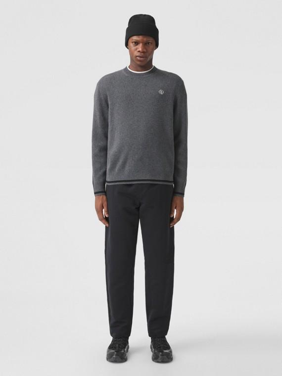 Monogram Motif Cashmere Cotton Sweater in Dark Grey Melange