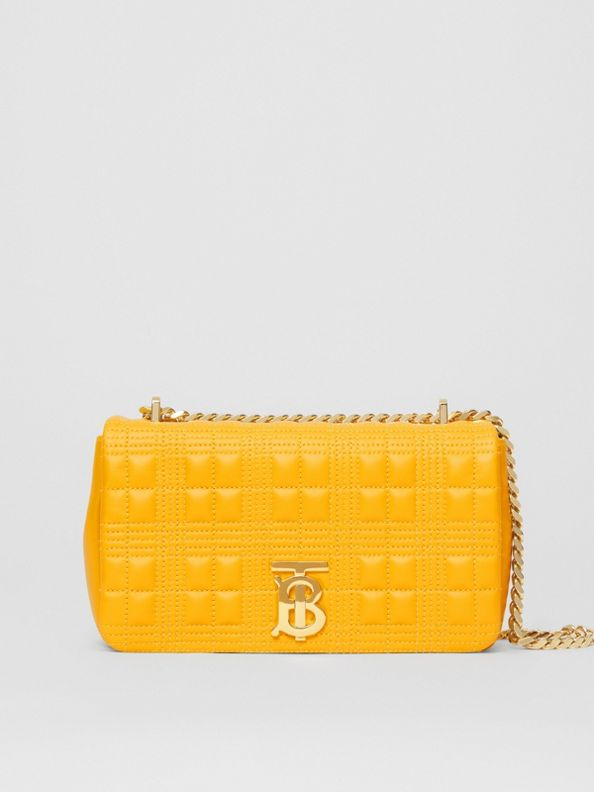 Small Quilted Lambskin Lola Bag in Deep Saffron