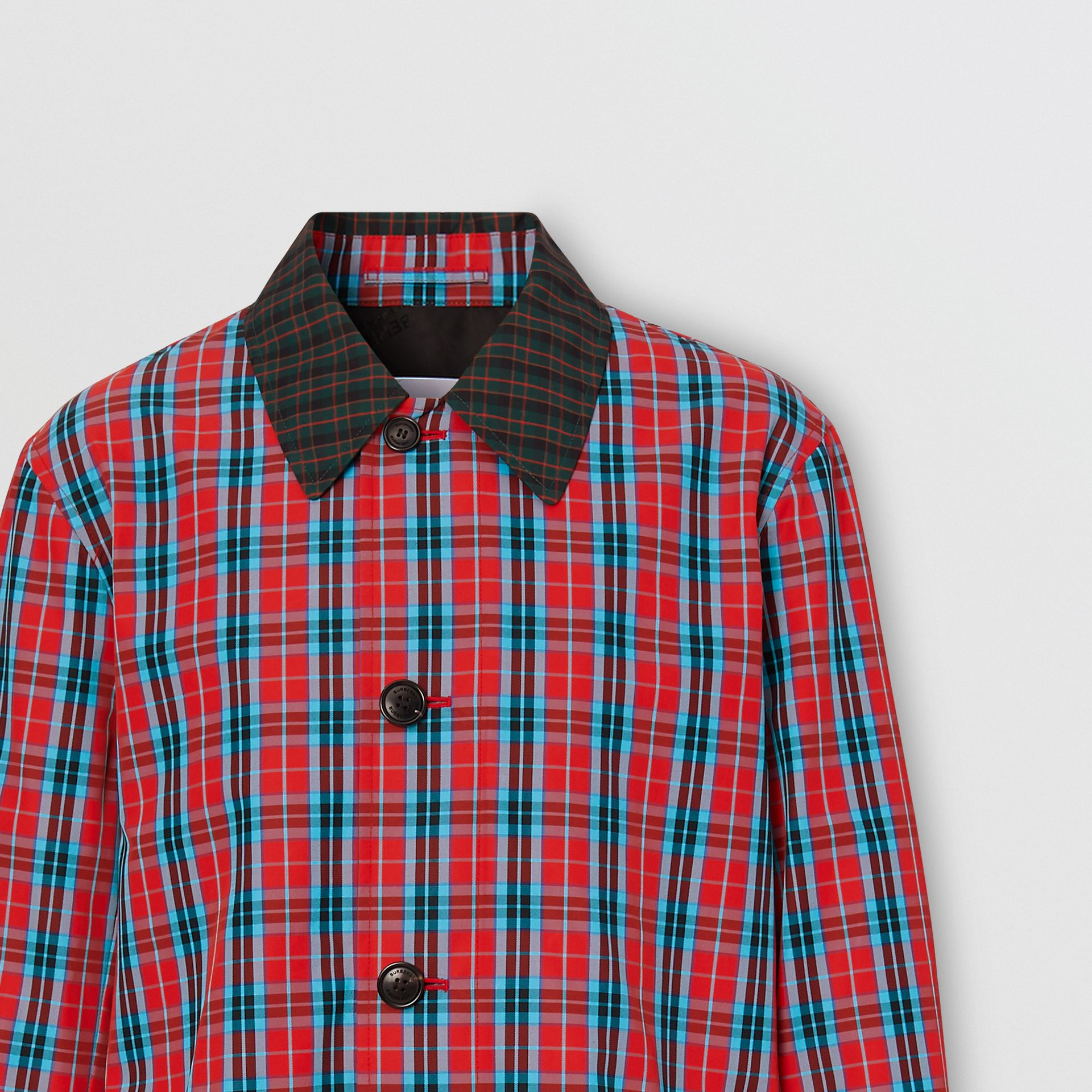 Contrast Collar Check Nylon Twill Car Coat in Red - Men | Burberry - gallery image 2
