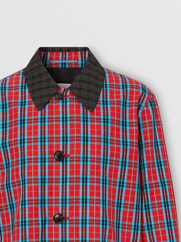 Contrast Collar Check Nylon Twill Car Coat in Red - Men | Burberry - cell image 2
