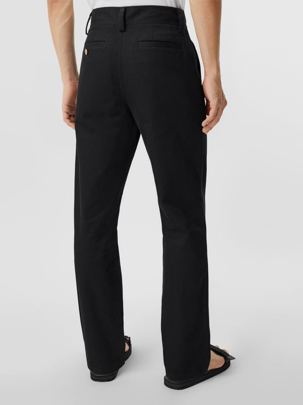 Straight Fit Logo Detail Cotton Chinos in Black - Men | Burberry Canada - cell image 2