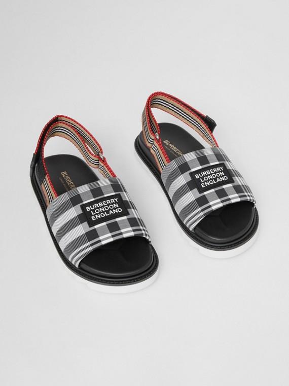 Sandálias de popeline de algodão xadrez com detalhe de listras icônicas (Preto/branco)