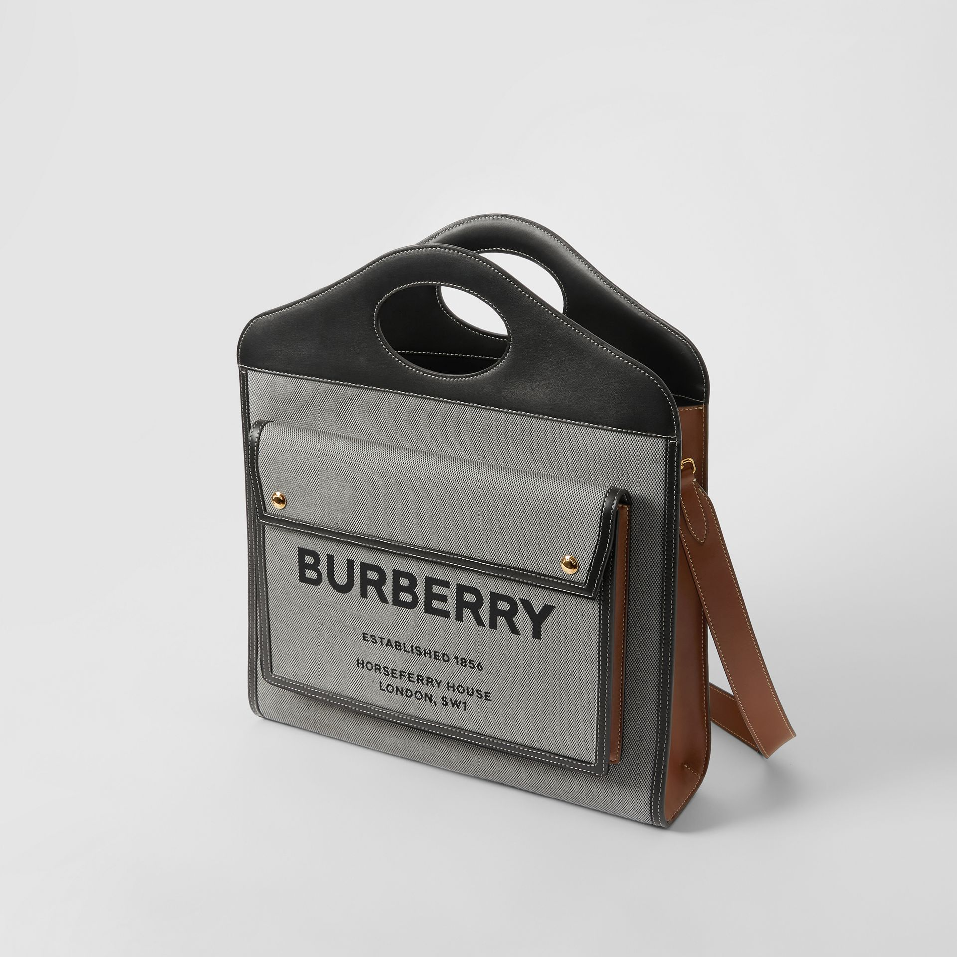 Mini Tri-tone Canvas and Leather Pocket Bag in Black/tan - Women | Burberry - gallery image 3